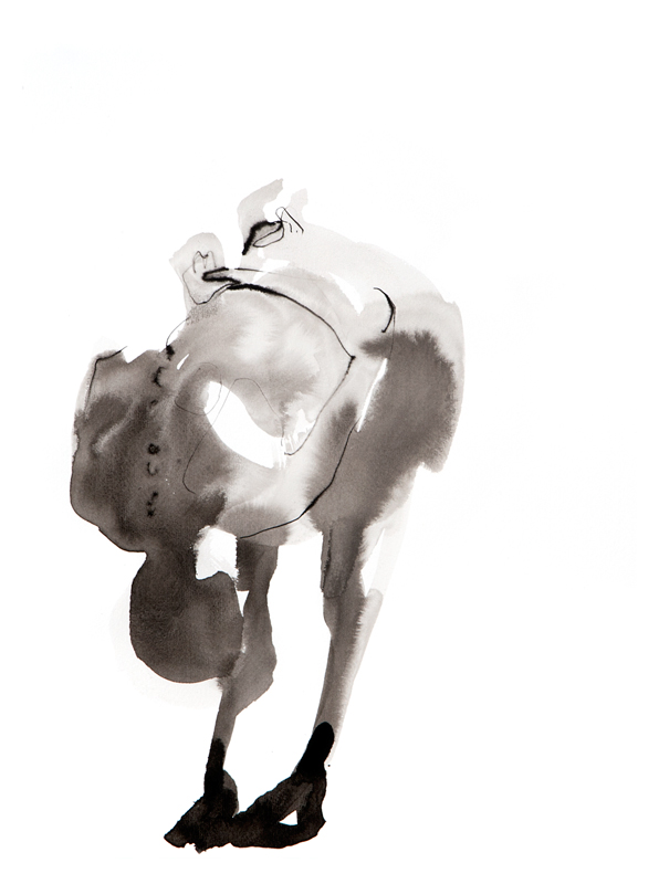 Tekening mannelijk model, inkt
